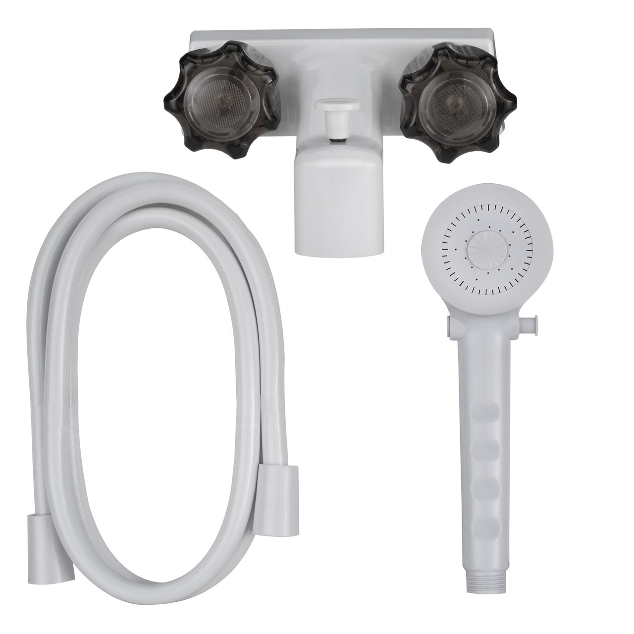 4 Rv Tub And Shower Diverter Faucet White Smoke With Handheld Shower Head Hose